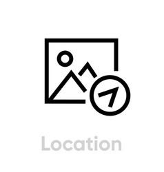 Location picture icon editable line vector