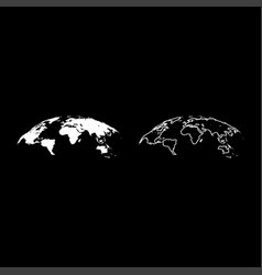 map of world 3d effect surface icon set white vector image