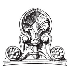 Modern french antefix roof vintage engraving vector