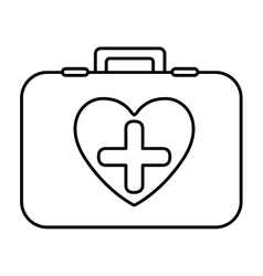 monochrome contour with firts aid kit with symbol vector image