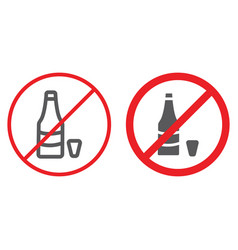 no alcohol line and glyph icon prohibited and ban vector image