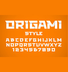origami style font alphabet and numbers vector image