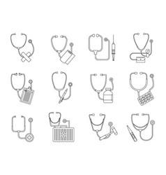 phonendoscope stethoscope icons set outline style vector image