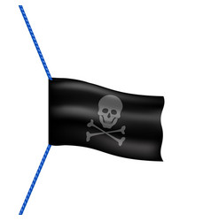 pirate flag with skull symbol hanging on blue rope vector image
