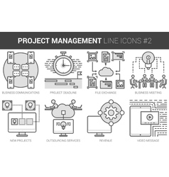 Project management line icon set vector