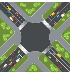 Road intersection with cars Top view vector image