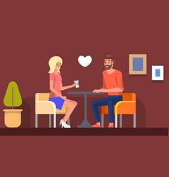romantic date in cafe girl meeting boyfriend flat vector image