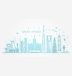 saudi arabia detailed skyline travel and tourism vector image