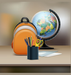 school bag with globe vector image
