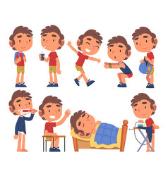 Schoolboy daily routine activities collection vector