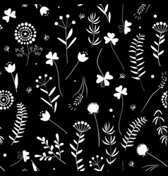 seamless floral pattern with leaves and herbs vector image