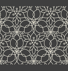 Seamless linear flower pattern on dark grey vector