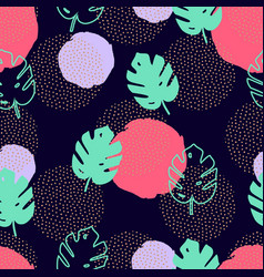 seamless pattern with monstera palm leaves and vector image