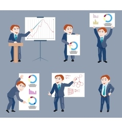 Set of businessman holds presentation vector image