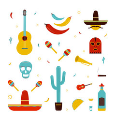 Set on a mexico theme different mexican bright vector