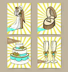 Sketch set of wedding posters vector