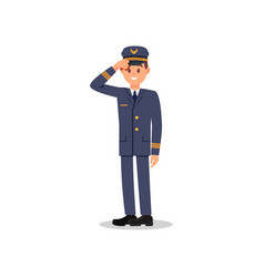 smiling pilot holding his hat by hand vector image