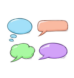 speech bubbles colored doodles set vector image