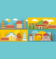 taipei taiwan city banner concept set flat style vector image