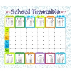 Template school timetable 2016-2017 vector