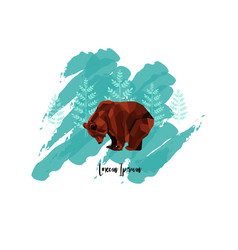 The card with low poly brown bear and trees on vector