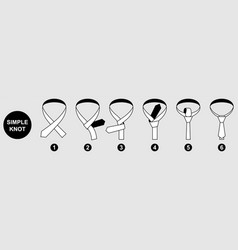 Tie simple knot instruction black and white vector