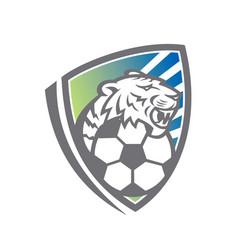 tiger soccer ball shield vector image
