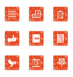 Transmittal icons set grunge style vector