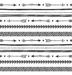 Tribal hand drawn background ethic doodle pattern vector image