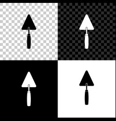 trowel icon isolated on black white and vector image