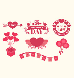 Valentines day sticker and elements vector