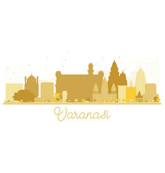 varanasi city skyline golden silhouette vector image