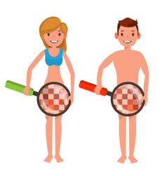 venereal disease check naked man and woman vector image