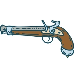 Vintage flintlock pistol or musket vector