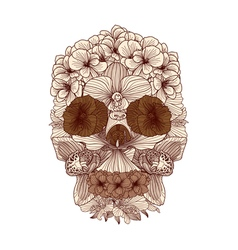 Vintage flowers skull composition vector