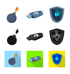 Virus and secure icon vector