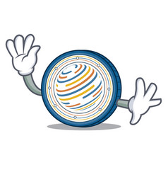 waving factom coin character cartoon vector image