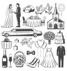 Wedding accessories and engagement icons vector