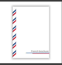 White brochure with ribbon in french tricolor vector