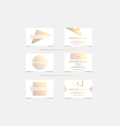 white gold luxury business cards set for vip event vector image