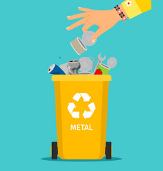 woman hand throws metal garbage vector image