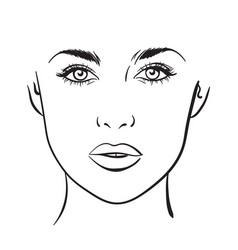 woman portrait face chart makeup template vector image
