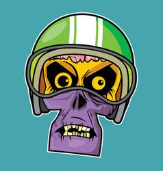 zombie head - motor rider vector image