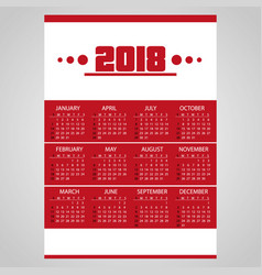 2018 simple business red wall calendar with white vector