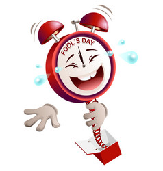 fools day time clock hours service laughs vector image