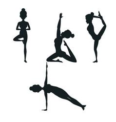 Set woman different posture yoga vector