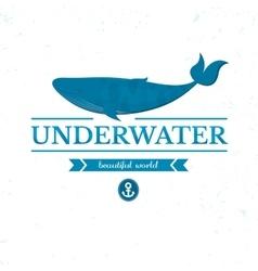 Underwater oceanarium logo vector image