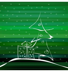 Abstract Christmas Tree on Green Background vector image vector image
