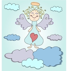 Blond angel with purple wings vector image