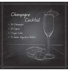 Champagne cocktail on black board vector image